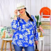 Tunique blouse été fleurie pompons grande taille PASQUA royal Tunique été femme