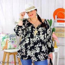 Tunique blouse été fleurie pompons grande taille PASQUA noir Tunique été femme