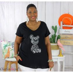 T-shirt coton brodé sequins grande taille été TEDDY noir Tee shirt tunique femme grande taille