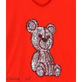 T-shirt coton brodé sequins grande taille été TEDDY rouge Tee shirt tunique femme grande taille