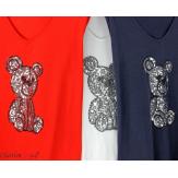 T-shirt coton brodé sequins grande taille été TEDDY blanc Tee shirt tunique femme grande taille
