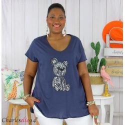 T-shirt coton brodé sequins grande taille été TEDDY marine Tee shirt tunique femme grande taille