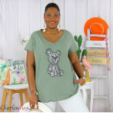 T-shirt coton brodé sequins grande taille été TEDDY kaki Tee shirt tunique femme grande taille
