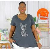 T-shirt coton brodé sequins grande taille été TEDDY gris Tee shirt tunique femme grande taille