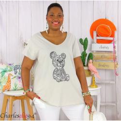 T-shirt coton brodé sequins grande taille été TEDDY beige Tee shirt tunique femme grande taille