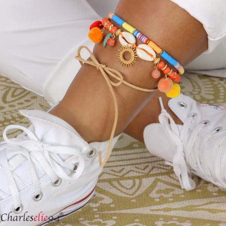 Bracelet cheville 2 rangs pompons breloques YANA1 Accessoires mode femme