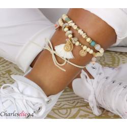 Bracelet cheville 2 rangs pompons breloques YANA2 Accessoires mode femme
