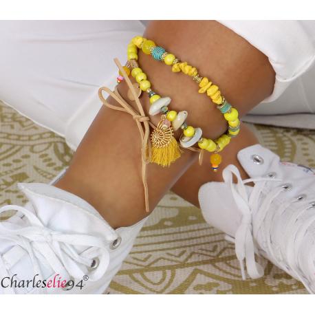 Bracelet cheville 2 rangs pompons breloques YANA3 Accessoires mode femme