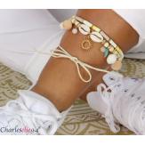 Bracelet cheville 2 rangs pompons breloques YANA4 Accessoires mode femme