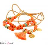 Bracelet cheville 2 rangs pompons breloques YANA5 Accessoires mode femme