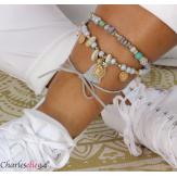 Bracelet cheville 2 rangs pompons breloques YANA6 Accessoires mode femme
