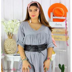 Large ceinture cuir femme grande taille SORINA noire Accessoires mode femme