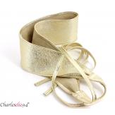 Large ceinture cuir femme grande taille SORINA dorée Accessoires mode femme