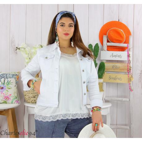 Veste jean stretch été femme grande taille MOSTA blanche Veste femme grande taille