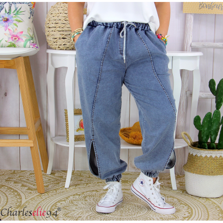 Jean jogging stretch femme grande taille ROXANA clair Pantalon large femme