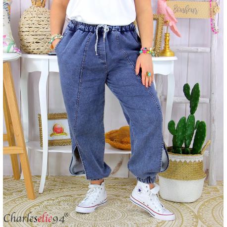 Jean jogging stretch femme grande taille ROXANA foncé Pantalon large femme