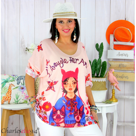 Tunique t-shirt maille imprimé femme grande taille CYBELE 11 Tee shirt tunique femme grande taille