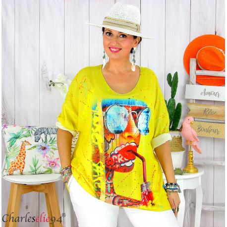 Tunique t-shirt maille imprimé femme grande taille CYBELE 13 Tee shirt tunique femme grande taille