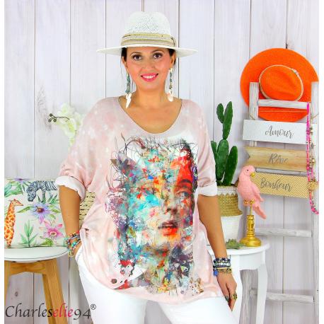 Tunique t-shirt maille imprimé femme grande taille CYBELE 14 Tee shirt tunique femme grande taille