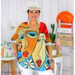 Tunique t-shirt maille imprimé femme grande taille CYBELE 15 Tee shirt tunique femme grande taille