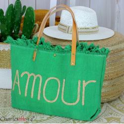 Grand cabas sac cuir toile amour VIRGIL vert Sac cabas