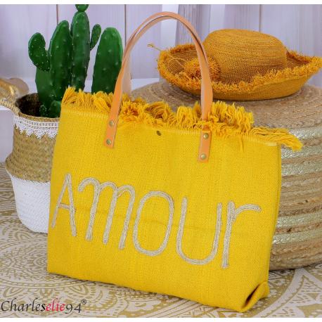 Grand cabas sac cuir toile amour VIRGIL jaune Sac cabas