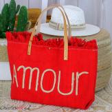 Grand cabas sac cuir toile amour VIRGIL rouge Sac cabas