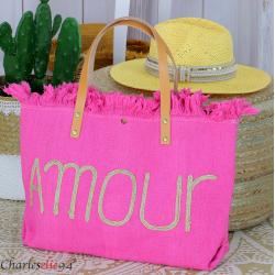 Grand cabas sac cuir toile amour VIRGIL rose fushia Sac cabas