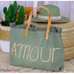 Grand cabas sac cuir toile amour VIRGIL kaki Sac cabas