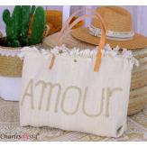 Grand cabas sac cuir toile amour VIRGIL beige Sac cabas