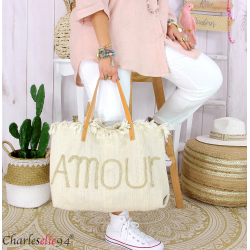 Grand cabas sac cuir toile amour VIRGIL beige Sac cabas