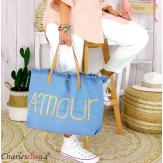 Grand cabas sac cuir toile amour VIRGIL bleu jean Sac cabas