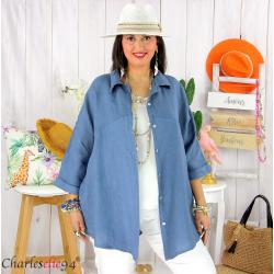 Chemise en lin été femme grande taille SILVIA bleu jean Chemise femme grande taille