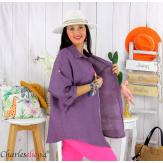 Chemise en lin été femme grande taille SILVIA violet Chemise femme grande taille