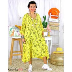 Robe été femme grande taille coton tencel DOINA jaune Robe été grande taille
