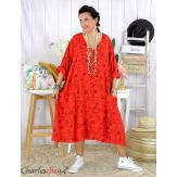 Robe été femme grande taille coton tencel DOINA rouge Robe été grande taille