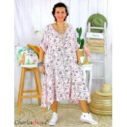 Robe été femme grande taille coton tencel DOINA rose Robe été grande taille