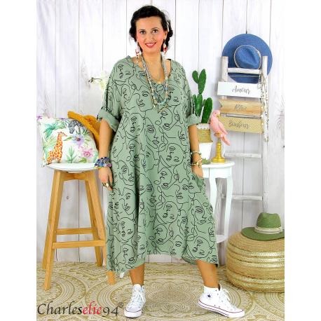 Robe été femme grande taille coton tencel DOINA kaki Robe été grande taille