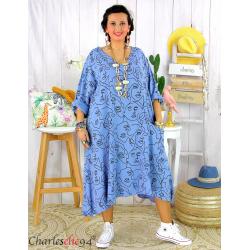 Robe été femme grande taille coton tencel DOINA bleu jean Robe été grande taille