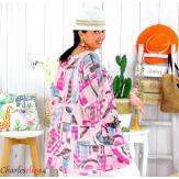 Tunique été coton lin femme grande taille CORNELIA rose Tunique femme grande taille