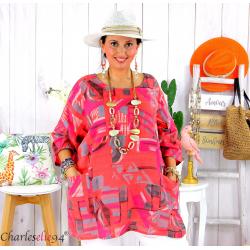 Tunique été coton lin femme grande taille CORNELIA corail Tunique femme grande taille