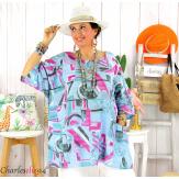 Tunique été coton lin femme grande taille CORNELIA bleu Tunique femme grande taille
