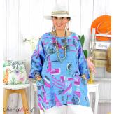 Tunique été coton lin femme grande taille CORNELIA royal Tunique femme grande taille
