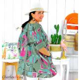 Tunique été coton lin femme grande taille CORNELIA kaki Tunique femme grande taille