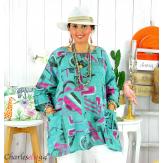 Tunique été coton lin femme grande taille CORNELIA vert Tunique femme grande taille