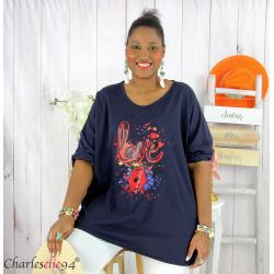 T shirt femme grande taille imprimé street KISS marine Tee shirt tunique femme grande taille