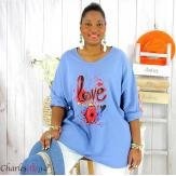T shirt femme grande taille imprimé street KISS jean Tee shirt tunique femme grande taille