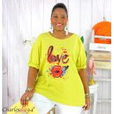 T shirt femme grande taille imprimé street KISS jaune Tee shirt tunique femme grande taille