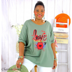 T shirt femme grande taille imprimé street KISS kaki Tee shirt tunique femme grande taille