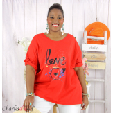 T shirt femme grande taille imprimé street KISS rouge Tee shirt tunique femme grande taille
